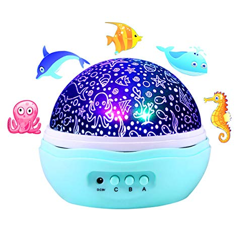 (Sea/Ocean World Projector with Fish, Jellyfish, Dolphin and Conch, LED Night Light With 8 Colors, 360° Rotation)