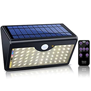 Solar Lights Outdoor with Remote Control, 1300LM 60 LED Wireless Waterproof Solar Motion Sensor Security Light with Wide Detection Angle for Garden, Pathway, Driveway (Warm White)