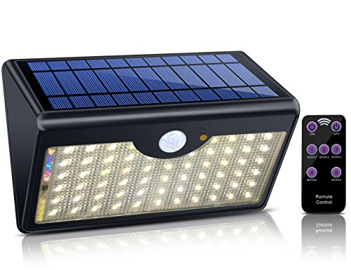 Solar Lights Outdoor with Remote Control, 1300LM 60 LED Wireless Waterproof Solar Motion Sensor Security Light with Wide Detection Angle for Garden, Pathway, Driveway (Warm White) (Iron Pool Fence)