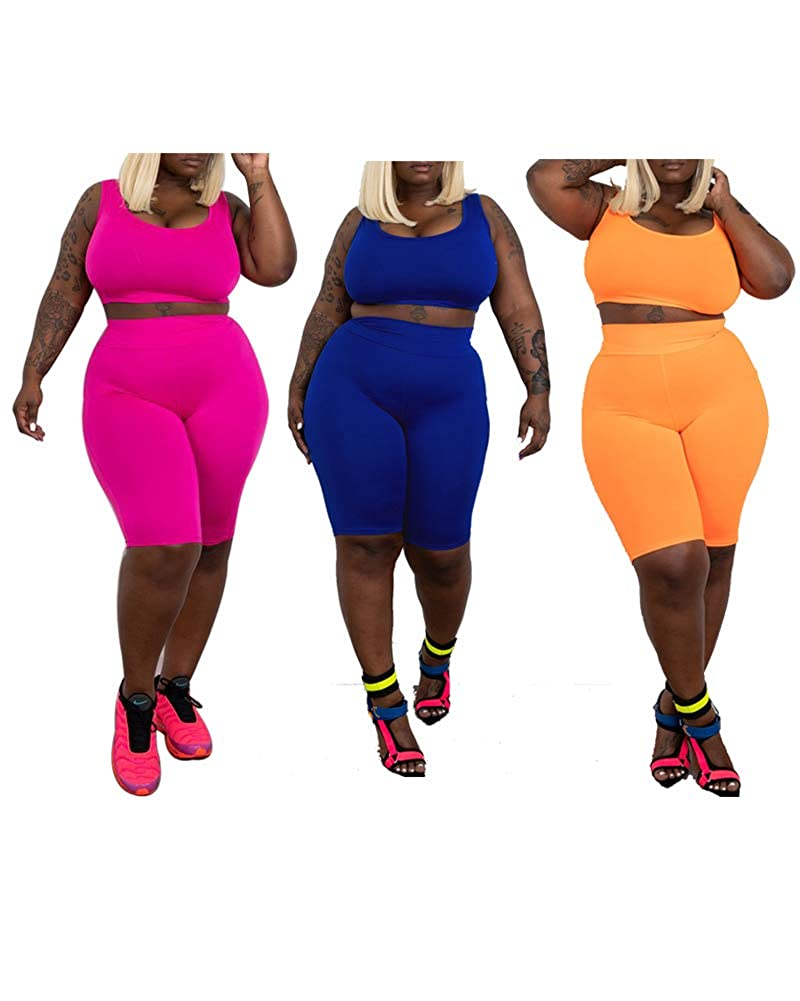 Women/'s Sleeveless Crop Tank Top Club 2 Piece Shorts Set Outfits Plus Size Jumpsuits Rompers Blue 5X