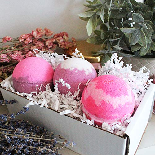 Handcrafted Big Bath Bombs Lush Aromatherapy Lavender Roses Sea Salt Mix Fizzy Gift Set Box Relaxtion Spa Moisturize Dry Skin Gifts For Her Girls Mothers Day Mom Kids All Natural Handmade in USA ()