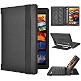Lenovo YOGA Tab 3 8 Keyboard case, KuGi ® High quality Ultra-thin Detachable Bluetooth Keyboard Stand Portfolio Case / Cover for Lenovo YOGA Tablet 3 8 inch tablet. (Black)