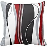 Wavy Vertical Stripes Red Black White Grey Cushion Covers 18 x 18 inch by decorpillow