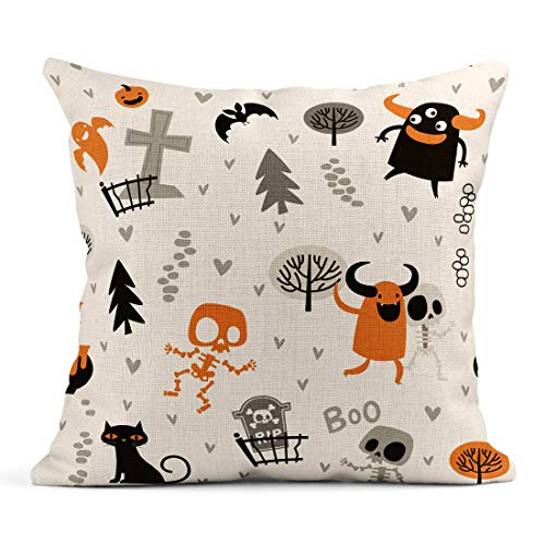 Semtomn Decor Flax Throw Pillow Covers Case Halloween Pattern Cute Skeletons and Monsters in Forest Mexican 18