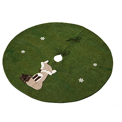 - Cypress Home Fox Holiday Tree Skirt Felt Fabric Applique Forest Green Round 48 Inches in Diameter