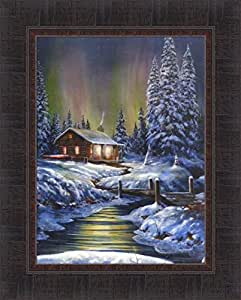 Amazon Com Fire And Ice By Jim Hansel 17x21 Log Cabin
