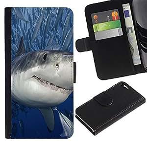 All Phone Most Case / Oferta Especial Cáscara Funda de cuero Monedero Cubierta de proteccion Caso / Wallet Case for Apple Iphone 5 / 5S // Killer Shark With Fish