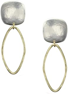 product image for Marjorie Baer Rounded Square with Hammered Oval Clip oo Earring in Brass and Silver
