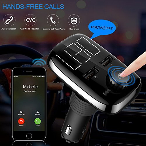 Bluetooth FM Transmitter for Car, LUMAND Wireless Bluetooth Radio Transmitter Adapter Car Kit with Hand-Free Calling and Dual USB Ports