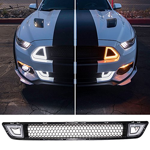 Lower Grille Fits 2015-2017 Ford Mustang | Ikon Style ABS Black Front Bumper Grill Hood Mesh by IKON MOTORSPORTS | 2016 ()