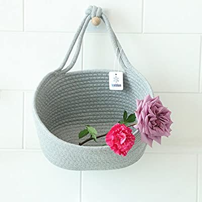 Iceblue 9.8''X5.9''X7''Grey Oval Cotton Rope Over Wall Door Closet Window Hanging Storage Basket - Product Size : 9.8''X5.9''X7'' Color : Grey Material : Natural Woven Cotton woven rope - living-room-decor, living-room, baskets-storage - 51cKNIv2yQL. SS400  -