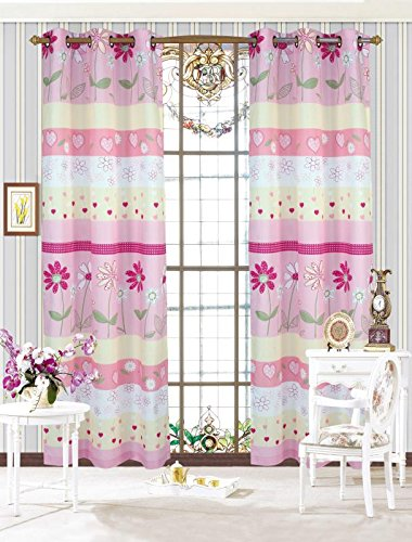 MK Home Mk Collection 2 Panel Curtain Set Teens/Girls Pink Floral (Curtain Collection)