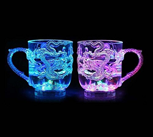 (Pack of 2) Weimei Creative Gift Cup, LED Flash Shining Mug, Water Liquid Activated LED Flashing, Beer Whisky Blinking Mug for KTV Bar Club Night Party Halloween Christmas, 5 Patterns (Flashing Beer Mug)
