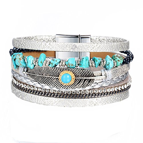 17KM Women Men Vintage Leather Bracelets Multi Layers Crystal Turquoise Beads Feather Charms Bracelets Wrap Cuff