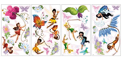 Roommates Rmk1493Scs Disney Fairies Wall Decals With Glitter Wings (Fairies Wall Decals)