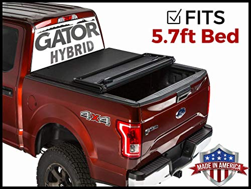 Gator Hybrid Hard Folding (fits) 2019 Dodge Ram 5.7 FT Bed No RamBox Only Hard w/Soft Looks Tonneau Truck Bed Cover (GHF0222) Made in The USA
