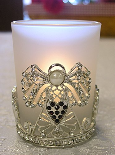 Angel Candle Holder - Frosted Glass Tea Light or Votive Candle Holder - Jeweled Crystal Wings the Metal Heart Shaped Filigree (Metal Angels Candle Holder)