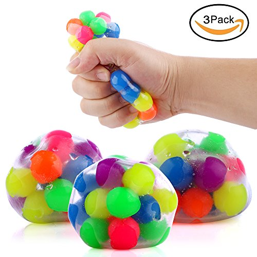 DNA Stress Relief Ball - 3 Pack- Squeezing Balls- Sensory Stress Balls For Kids & Adults- Ideal Sensory Toy for Autism, Anxiety, ADHD & More