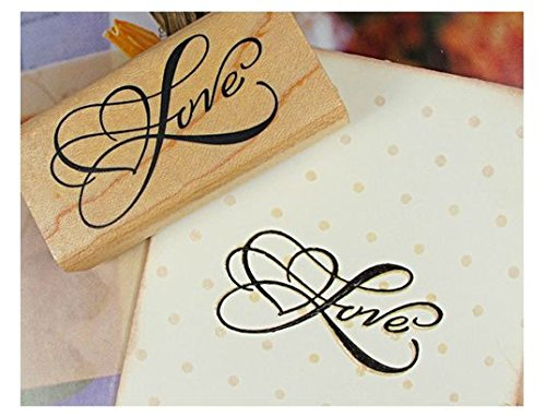 Adeeing Vintage Style Greeting Words DIY Rectangle Wood Rubber Seal Stamper Craft Art Word Love for Card (Wood Stamper)
