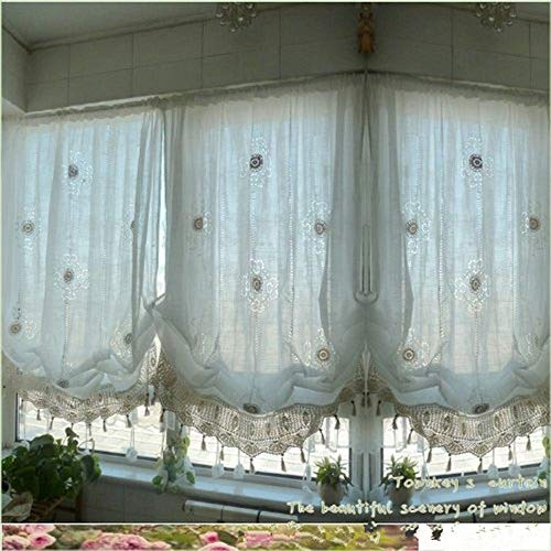 Abreeze Rustic Flowers Embroidery Girls Curtains, Hook Style Adjustable Balloon Living Room Curtain with Lace, Off-White]()
