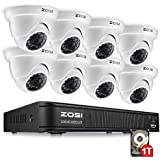 ZOSI 720P HD-TVI Home Surveillance Camera System ,8 Channel Security DVR Recorder with 1TB Hard Drive,8PCS 1280TVL Outdoor/Indoor Dome CCTV Cameras,Easy Remote Access Viewing