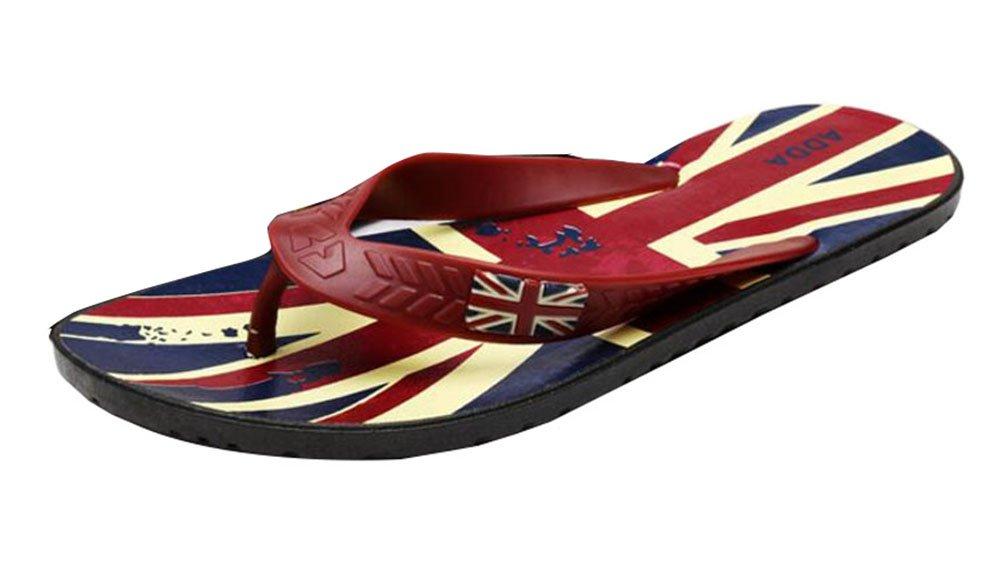Los patrones de la bandera de la unión flip flops sandalias de playa zapatillas Black Temptation