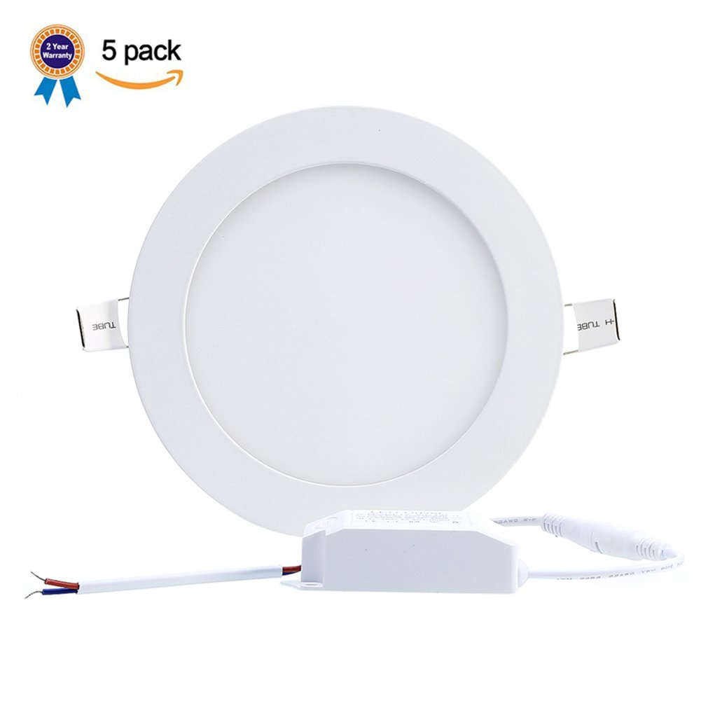 B-right Pack of 5 Units 25W 11-inch Ultra-thin Round LED Recessed Panel Light, 1800lm, 180W Incandescent Equivalent, 3000K Warm White, LED Recessed Ceiling Lights for Home, Office, Commercial Lighting
