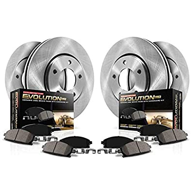 Power Stop KOE5879 Front and Rear Brake Kit- Stock Replacement Brake Rotors and Ceramic Brake Pads: Automotive