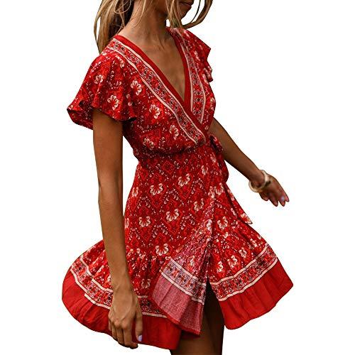 Exlura Women's Summer Mock Wrap V Neck Bohemian Floral Printed Split A Line Ruffle Hem Beach Mini Dress with Belt Plus Size Coral Red