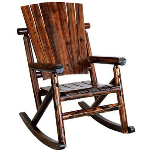 Country Porch Arm Chair - United General Supply TX93860 Natural Organic Char-Log Wood Single Rocker