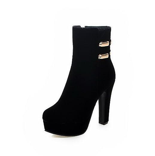 Women's Zipper High Heels Imitated Suede Solid Low Top Boots