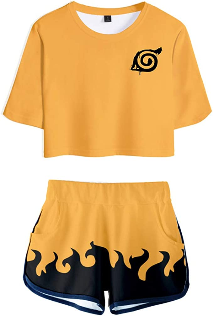 Memoryee 3D Digital Anime Naruto Crop Top T-Shirts And Shorts Clothes Set Suit