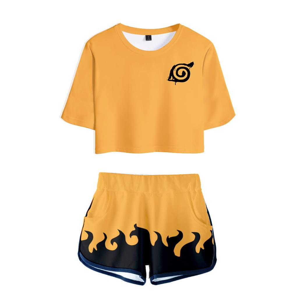 Memoryee Moda 3D Digital Anime Naruto imprimiendo Camisetas y Pantalones Cortos, Ropa Corta, Traje de Dos Piezas para niñas y Mujeres Ropa Deportiva