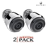 Aerator for Kitchen, Bathroom Faucet, 2 Function Swivel Sprayer, Water Saving Flow 1.5 GMP, Polished Chrome (2 pack: Black)