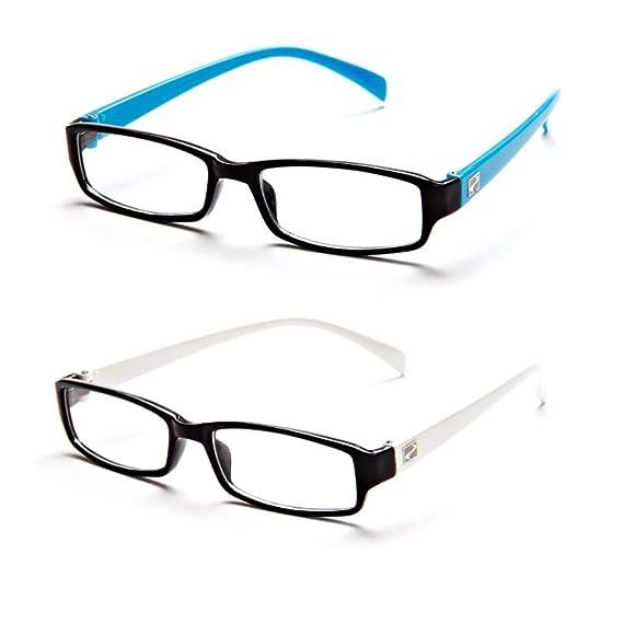 063ed1bcb2c MagJons light Blue   White Rectangle Unisex Eyeglasses Frame - Combo Of 2   Amazon.in  Clothing   Accessories