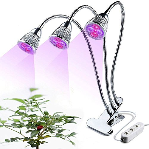 LED Plant Grow Light, 15W Three-Head LED Desk Grow Lamp Adjustable