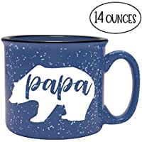 Fun Coffee Mug for Him - Papa Bear - Blue Camping Mug - Perfect Gift for Him: Dad, Husband, Grandpa, Grandfather, Father's Day
