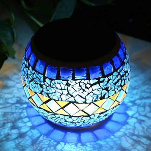 LEDGLE ソーラーライト ガーデンライト ガラスランプ ソーラー充電式 イルミネーションライト モザイクガラスライト 夜間自動点灯 IP44防水 庭 ベランダ 玄関 テーブル ガーデン パーティー クリスマス 装飾用 プレゼントにも最適