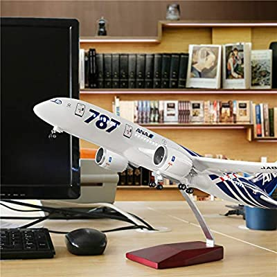 "24-Hours 18"" 1:130 Airplane Plastic Model All Nippon B787 with LED Light(Touch or Sound Control) for Decoration or Gift"
