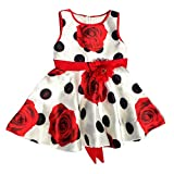 (US) Floral Polka Dot Girl Dress - Adorable Sundress with Matching Headband/Hair Bow - Baby Girl and Toddler Outfit - 100% Silky Smooth (2 - 3 Years, Red/White/Black Polkda-Dots)