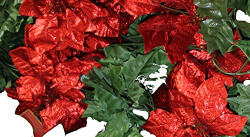 Set of 3 Sparkling Christmas Garlands Artificial Poinsettia Flowers - 5 Foot X 3, 15 Total!! (Red)
