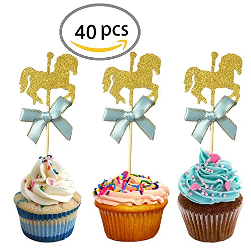 KWJOY 40 Pieces Carousel Horse Theme Gold Glitter Cupcake Toppers Horse Cake (Horse Topper)