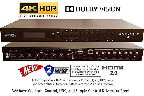 - 8x8 HDMI 4K HDR Matrix Switcher 18GBPS Ultra YUV 4:4:4 HDCP2.2 60Hz HDMI 2.0B Dolby Atmos HDTV Routing SELECTOR SPDIF Audio CONTROL4 Savant Home Automation Switch IP RS232