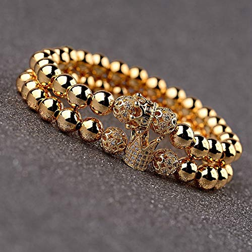 ALISETHEL Copper Bracelet for Men Oiquei 2pcs/Set Couple Bracelets for Women Men 2019 Gold 8mm Copper Bead&cz Crown Beaded Charm Bnagles Bracelet Luxury Jewelry