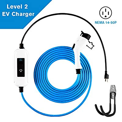 Sunbury Portable Electric Vehicle EV Turbo Charging Station and Adapter Level 2 for Home or Travel, 25 ft Heavy Duty Cable, 32A,120V~240V EVSE, for All SAE J1772 (Tesla with 240V Outlet)