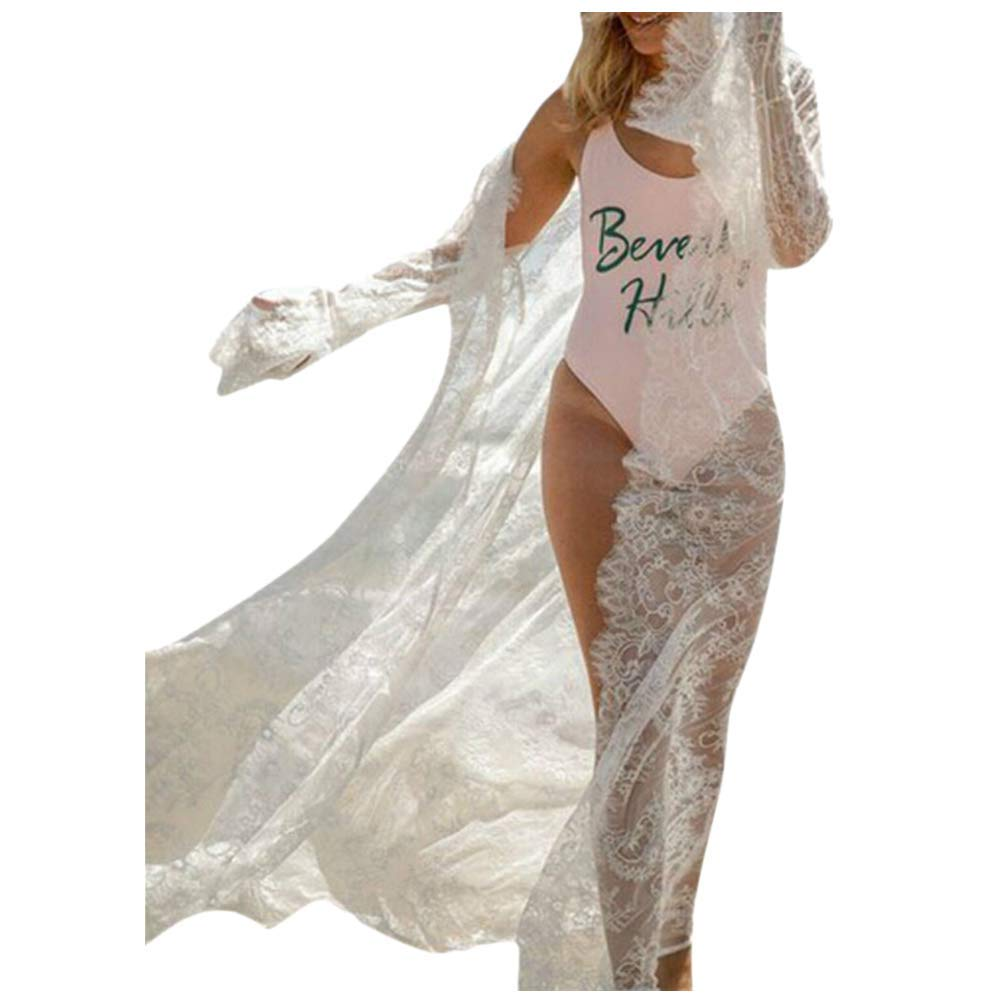 Women's Lace Cardigan Crochet Cover Up Swimsuit Bikini Bathing Suit Beach Dress (S, White) by Womens Bikini Hechun