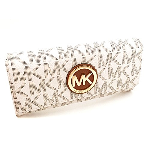 Michael Kors Womens Fulton Signature Long Continental Clutch Wallet Vanilla/Acorn ()