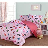 QUTE Baby Bed set, Bed sheets, Machine Washable, Kids style, Cotton, Soft (1 Duvet Cover + 1 Bed Sheet + 2 Pillow Cases) (Pink with horses)