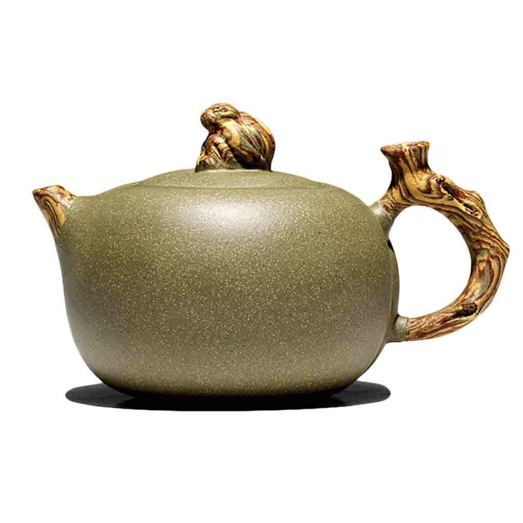 Tea Cozies Zisha Pot Pure Hand-Made ore Section mud ore Section mud Bean Green Sand mud Monkey Zen teapot Purple Sand Tea Set teapot Famous Set Non-Ceramic (Color : Green, Size : 14.259cm)