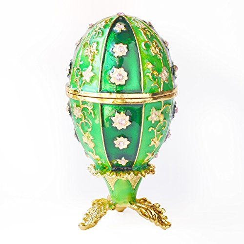 Apropos Hand-Painted Vintage Style Faberge Egg with Rich Enamel and Sparkling Rhinestones Jewelry Trinket Box (Green & (Egg Enamel Box)